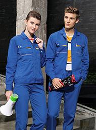涤棉厚纱卡科技蓝色长袖工作服