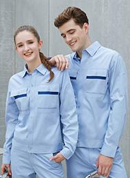 纯棉细斜纹天蓝色长袖工作服