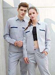 纯棉细斜纹浅灰色长袖工作服
