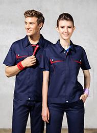 涤棉细斜纹深蓝色短袖工作服