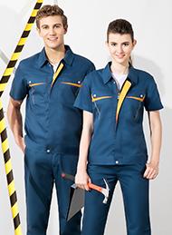 涤棉细斜纹深青色短袖工作服