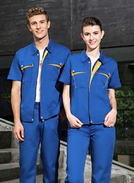 涤棉细斜纹科技蓝色短袖工作服