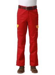 涤棉厚纱卡大红插黄色多袋裤