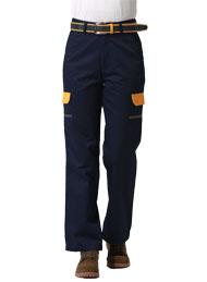 涤棉厚纱卡深蓝插黄色多袋裤