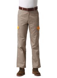 涤棉厚纱卡驼插黄色多袋裤