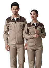 涤棉厚纱卡驼色插色长袖工作服