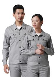 涤棉厚纱卡浅灰色长袖工作服