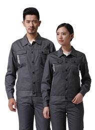 涤棉厚纱卡铁灰色长袖工作服