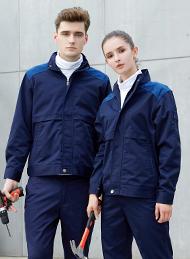 涤棉厚纱卡深蓝插色长袖工作服