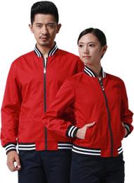 涤棉厚纱卡大红色长袖工作服