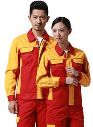 涤棉厚纱卡大红黄色插色长袖反光条工作服
