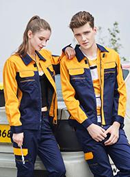 涤棉厚纱卡深蓝黄色插色长袖反光条工作服
