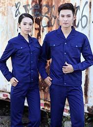 涤棉厚纱卡深蓝色长袖工作服