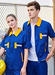 涤棉细斜纹彩蓝色短袖反光条工作服