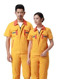 涤棉细斜纹黄色短袖反光条工作服