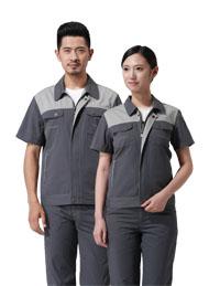 涤棉细斜纹铁灰浅灰插色短袖工作服
