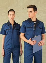 涤棉细斜纹宝蓝色短袖工作服