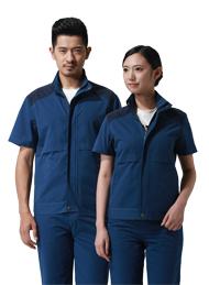 涤棉细斜纹宝蓝深蓝插色短袖工作服