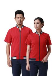 涤棉细斜纹大红色短袖工作服