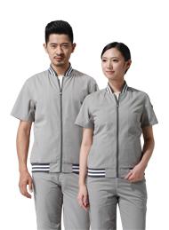 涤棉细斜纹浅灰色短袖工作服