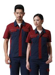 涤棉细斜纹深蓝枣红插色短袖反光条工作服