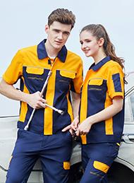 涤棉细斜纹深蓝黄色插色短袖反光条工作服