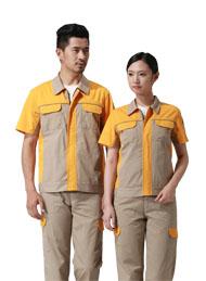 涤棉细斜纹驼色黄色插色短袖反光条工作服