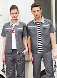 涤棉细斜纹铁灰色短袖工作服