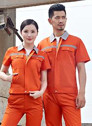 涤棉细斜纹桔红色短袖工作服