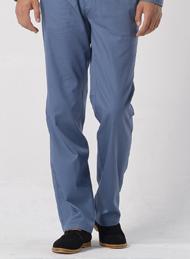 灰蓝色涤棉纱卡裤子