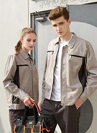 浅驼铁灰插色长袖纯棉工作服