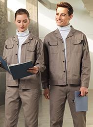 驼色长袖纯棉工作服
