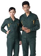 墨绿色纱卡涤棉长袖工作服