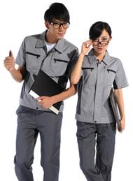 涤棉斜纹浅灰铁灰插色短袖工作服