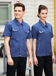 CVC斜纹宝蓝短袖工作服