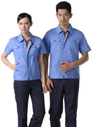 涤棉斜纹天蓝超薄短袖工作服