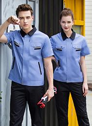 天蓝色涤棉细斜纹短袖工作服