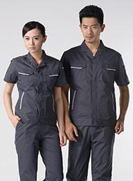 涤棉斜纹铁灰短袖工作服