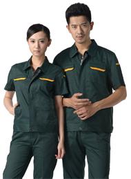 墨绿色细斜纹涤棉短袖工作服