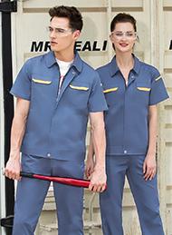 灰蓝色细斜纹涤棉短袖工作服