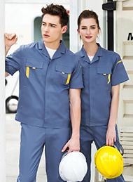 灰蓝色斜纹涤棉短袖工作服
